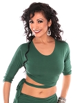 3/4 Sleeve Criss-Cross Tie Top Choli - JADE GREEN