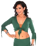 Criss-Cross Choli Top with Handkerchief Sleeves - JADE GREEN