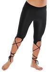 Stretch Leggings Capri Pants with Criss-Cross Laces - BLACK