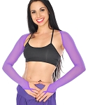 Long Sleeve Mesh Shrug with Finger Loops - PURPLE