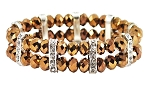 2-Row Stretch Bracelet with Glass Beads & Baguette Rhinestones - BRONZE