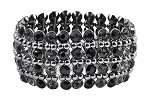 4-Row Crystal Rhinestone Stretch Bracelet - BLACK / HEMATITE