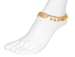 Arabesque Metal Belly Dance Anklet with Bells - GOLD