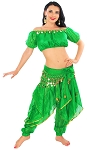Endless Wave Belly Dance Bollywood Costume - GREEN