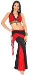 Tribal Fusion Studded Lace Pants Set - BLACK / RED