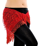 CAIRO COLLECTION: Egyptian Beaded Crochet Hip Wrap  - RED