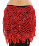 CAIRO COLLECTION: Egyptian Beaded Crochet Hip Scarf Wrap  - RED
