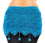 CAIRO COLLECTION: Egyptian Beaded Crochet Hip Scarf Wrap - TURQUOISE