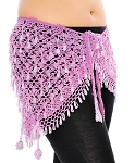 CAIRO COLLECTION: Egyptian Beaded Crochet Hip Wrap  - LAVENDER