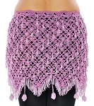 CAIRO COLLECTION: Egyptian Beaded Crochet Hip Scarf Wrap  - LAVENDER