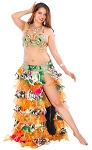 CAIRO COLLECTION: Professional Belly Dance Costume from Egypt - GREEN / ORANGE with BLACK FLORAL DESIGN