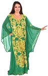 CAIRO COLLECTION: Traditional Khaleeji Thobe Dress - GREEN / GOLD