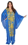 CAIRO COLLECTION: Traditional Khaleeji Thobe Dress - METALLIC BLUE / GOLD