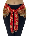CAIRO COLLECTION: Floral Metallic Print Hip Scarf - RED / GOLD