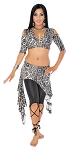 2-Piece Belly Dance Fusion Choli and Overskirt Set - SNOW LEOPARD