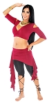 2-Piece Belly Dance Fusion Choli and Overskirt Set - BURGUNDY