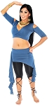 2-Piece Belly Dance Fusion Choli and Overskirt Set - CARIBBEAN BLUE