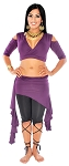 2-Piece Belly Dance Fusion Choli and Overskirt Set - DARK PURPLE PLUM