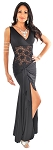 Elegant Full Length Dress with Lace Torso and Hip Wrap - BLACK
