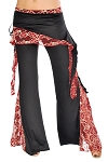 Tribal Fusion Belly Dance Pants with Lace Accents - BLACK / WINE GOLD