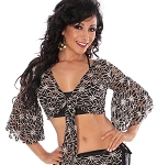 Lace Bell Sleeve Choli - BLACK / GOLD LEAF