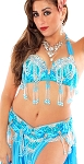 Professional Belly Dance Costume with Rhinestones & Fringe - TURQUOISE