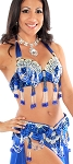 Professional Belly Dance Costume with Rhinestones & Fringe - ROYAL BLUE