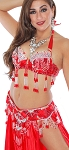 Professional Belly Dance Costume with Rhinestones & Fringe - RED