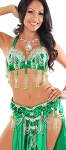 Professional Belly Dance Costume with Rhinestones & Fringe - GREEN