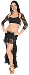Lace Tribal Fusion Belly Dance Skirt & Shrug Costume Set - BLACK