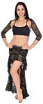 Lace Tribal Fusion Belly Dance Skirt & Shrug Set - BLACK / GOLD