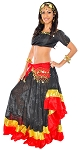 Deluxe Belly Dancer Gypsy Costume - BLACK/RED