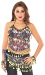 4-piece Skull and Crossbones Belly Dance Set - GOLD