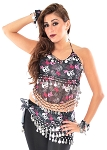 4-piece Skull and Crossbones Belly Dance Set - SILVER