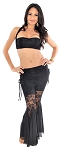 Belly Dance Fusion Lace Pants Set - BLACK