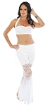 Belly Dance Fusion Lace Costume Pants Set - EGGSHELL WHITE