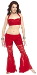 Belly Dance Fusion Lace Costume Pants Set - RED