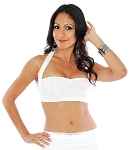 Strappy Lace Halter Top - EGGSHELL WHITE