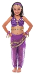 6-Piece Sparkle & Shine Genie Belly Dancer Kids Costume - PURPLE