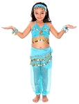 6-Piece Sparkle & Shine Genie Belly Dancer Kids Costume - TURQUOISE