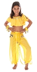 5-Piece Little Girls Arabian Princess Genie Kids Costume - YELLOW
