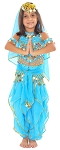 Little Girls Endless Waves Arabian Princess Bollywood Costume - TURQUOISE