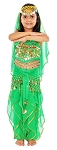 Little Girls Bollywood Princess Belly Dance Costume - GREEN