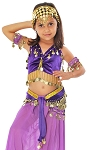 Little Girl's Velvet Belly Dance Costume Top and Hip Scarf Set - PURPLE