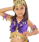 Little Girls Shimmering Velvet Belly Dance Costume - PURPLE