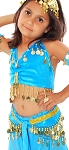 Little Girl's Velvet Belly Dance Costume Top and Hip Scarf Set - TURQUOISE