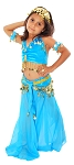 Little Girls Shimmering Velvet Belly Dance Costume - TURQUOISE