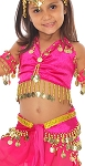 Little Girls Shimmering Velvet Belly Dance Costume - FUCHSIA