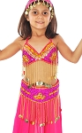 Little Girls Beaded Belly Dance Costume Top & Belt Set - FUCHSIA