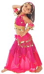 Little Girls Coins & Sparkles Belly Dance Costume - FUCHSIA